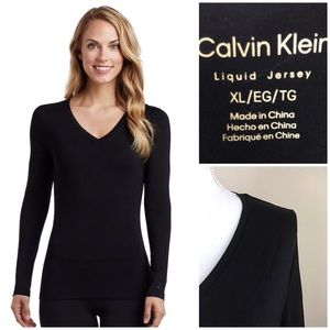 Calvin Klein Black liquid Jersey long sleeve XL